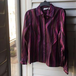 Silk purples/black long sleeve Worthington shirt